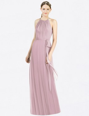 A-Line Halter Floor Length Long Primrose Chiffon Raina Bridesmaid Dress for Sale