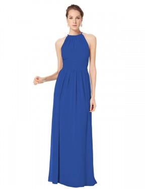 A-Line Halter Floor Length Long Royal Blue Chiffon Gabriella Bridesmaid Dress for Sale