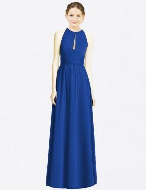 A-Line Halter Floor Length Long Royal Blue Chiffon Jazlyn Bridesmaid Dress for Sale