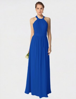 A-Line Halter Floor Length Long Royal Blue Chiffon Lucy Bridesmaid Dress for Sale