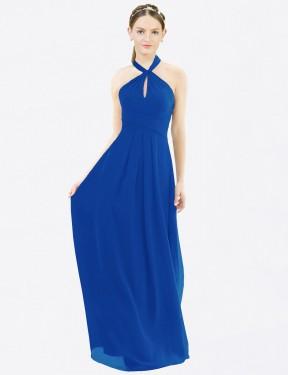 A-Line Halter Floor Length Long Royal Blue Chiffon Milan Bridesmaid Dress for Sale
