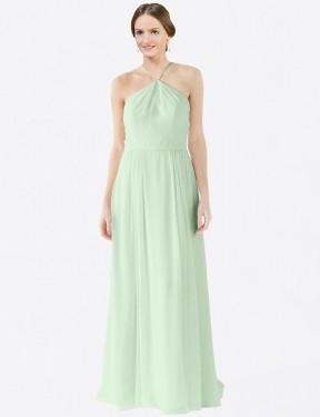 A-Line Halter Floor Length Long Sage Chiffon Amelia Bridesmaid Dress for Sale