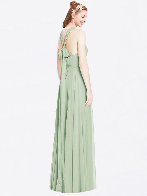 A-Line Halter Floor Length Long Sage Chiffon Skyler Bridesmaid Dress for Sale