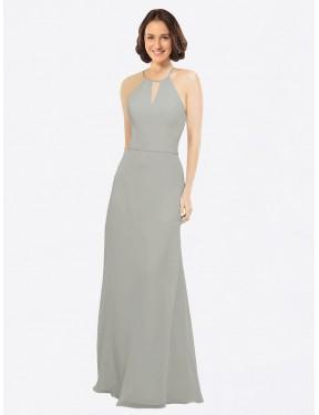A-Line Halter Floor Length Long Silver Chiffon Kylie Bridesmaid Dress for Sale