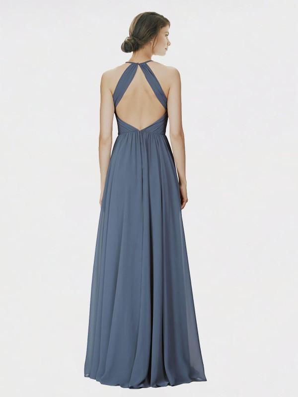 A-Line Halter Floor Length Long Silver Stone Chiffon Krystina Bridesmaid Dress for Sale