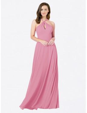 A-Line Halter Floor Length Long Skin Pink Chiffon Chandler Bridesmaid Dress for Sale