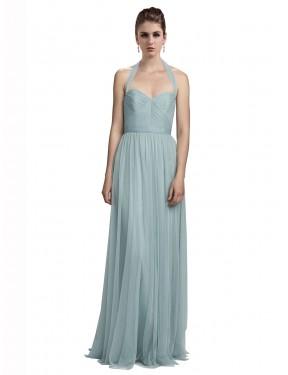 A-Line Halter Floor Length Long Tulle Laylah Bridesmaid Dress for Sale