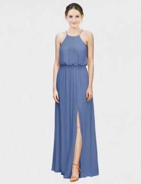 A-Line Halter Floor Length Long Windsor Blue Chiffon Amer Bridesmaid Dress for Sale