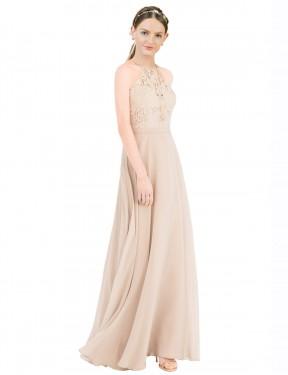 A-Line Halter High Neck Floor Length Long Champagne Chiffon & Lace Lailah Bridesmaid Dress for Sale