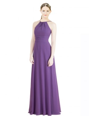 A-Line Halter High Neck Floor Length Long Dahlia Chiffon Aubriella Bridesmaid Dress for Sale