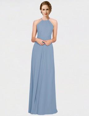 A-Line Halter High Neck Floor Length Long Dusty Blue Chiffon Milena Bridesmaid Dress for Sale
