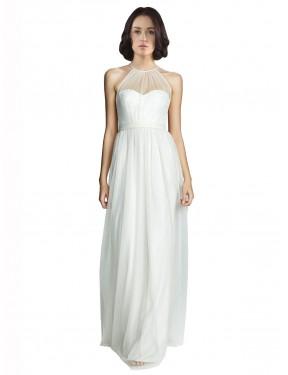 A-Line Halter High Neck Illusion Floor Length Long White Tulle Mara Bridesmaid Dress for Sale