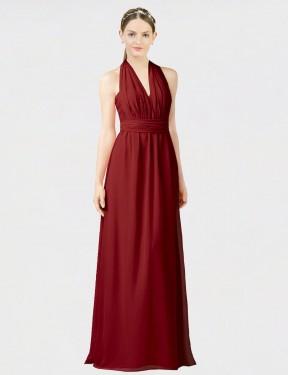 A-Line Halter Sweetheart Floor Length Long Burgundy Chiffon Jemma Bridesmaid Dress for Sale