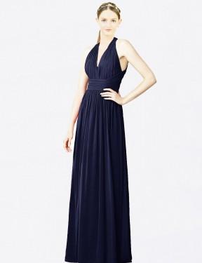 A-Line Halter V-Neck Floor Length Long Dark Navy Chiffon Mercy Bridesmaid Dress for Sale