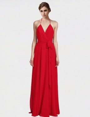 A-Line Halter V-Neck Spaghetti Straps Floor Length Long Red Chiffon Zahra Bridesmaid Dress for Sale
