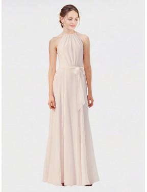 A-Line High Neck Bateau Floor Length Long Cream Pink Chiffon Kendal Bridesmaid Dress for Sale