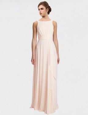 A-Line High Neck Bateau Floor Length Long Cream Pink Chiffon Lennox Bridesmaid Dress for Sale