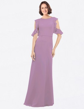 A-Line High Neck Floor Length Long Dark Lavender Chiffon Adalynn Bridesmaid Dress for Sale