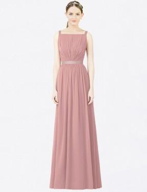 A-Line High Neck Floor Length Long Dusty Pink Chiffon Madeleine Bridesmaid Dress for Sale