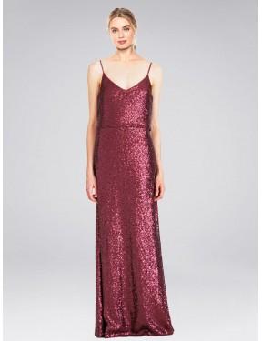 A-Line High Neck Halter Floor Length Long Burgundy Sequin Hill Bridesmaid Dress for Sale