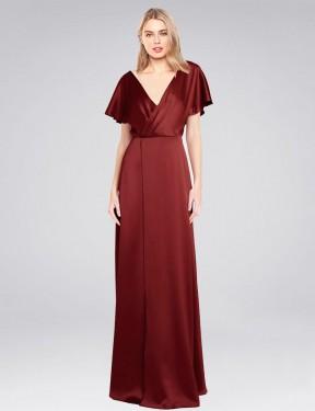 A-Line High Neck Halter Floor Length Long Burgundy Stretch Satin Acosta Bridesmaid Dress for Sale