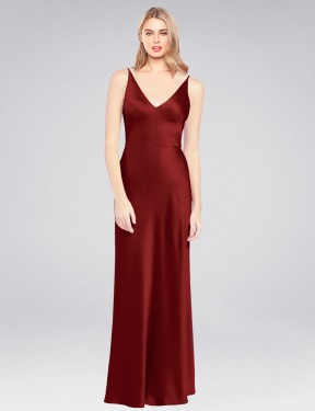 A-Line High Neck Halter Floor Length Long Burgundy Stretch Satin Jenatt Bridesmaid Dress for Sale