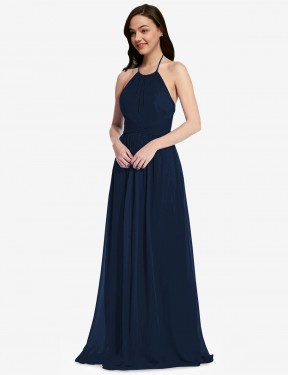 A-Line High Neck Halter Floor Length Long Dark Navy Chiffon Larson Bridesmaid Dress for Sale
