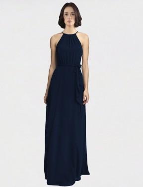 A-Line High Neck Halter Floor Length Long Dark Navy Chiffon Lillie Bridesmaid Dress for Sale