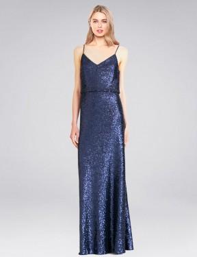 A-Line High Neck Halter Floor Length Long Dark Navy Sequin Hill Bridesmaid Dress for Sale