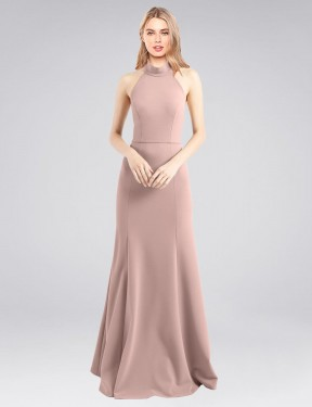 A-Line High Neck Halter Floor Length Long Dusty Pink Stretch Crepe Glover Bridesmaid Dress for Sale