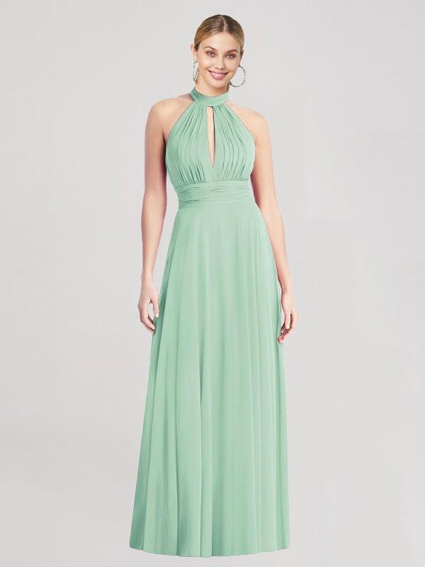 A-Line High-Neck Halter Floor Length Long Mint Green Chiffon Mike Bridesmaid Dress for Sale