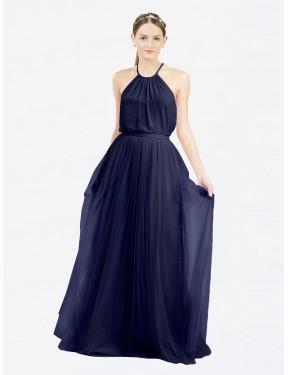 A-Line High Neck Halter Floor Length Long Navy Blue Tulle Lillian Bridesmaid Dress for Sale