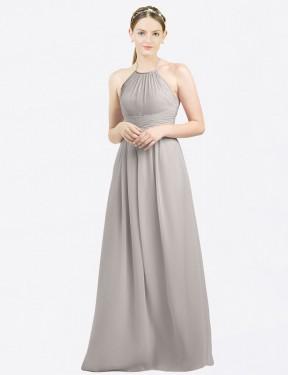 A-Line High Neck Halter Floor Length Long Oyster Silver Chiffon Mia Bridesmaid Dress for Sale
