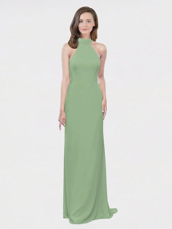 A-Line High Neck Halter Floor Length Long Seagrass Chiffon Stephany Bridesmaid Dress for Sale