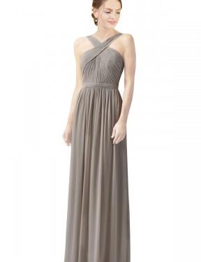 A-Line High Neck Halter Floor Length Long Silver Chiffon Christine Bridesmaid Dress for Sale