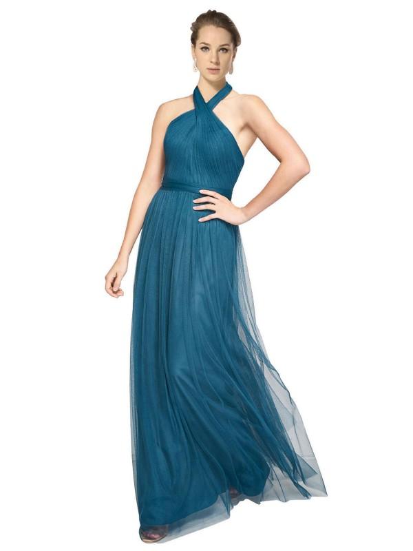 A-Line High Neck Halter Floor Length Long Teal Green Tulle Madeline Bridesmaid Dress for Sale