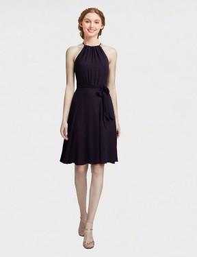 A-Line High Neck Halter Knee Length Short Grape Chiffon Elyse Bridesmaid Dress for Sale