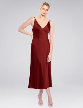 A-Line High Neck Halter Midi length Short Burgundy Stretch Satin Lane Bridesmaid Dress for Sale