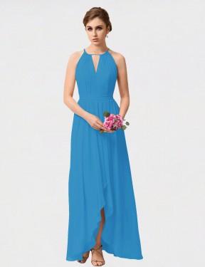 A-Line High Neck High Low Long Peacock Blue Chiffon Sutton Bridesmaid Dress for Sale