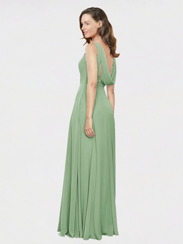 A-Line High Neck Square Floor Length Long Seagrass Chiffon Jess Bridesmaid Dress for Sale