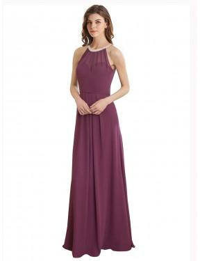A-Line High Neck Sweetheart Floor Length Long Chiffon Navid Bridesmaid Dress for Sale