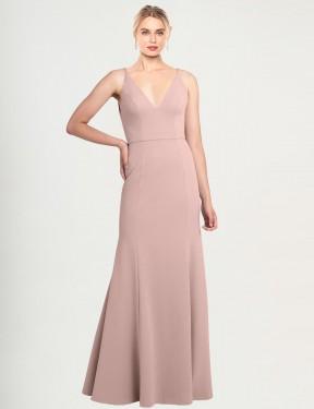A-Line High Neck V-Neck Floor Length Long Dusty Pink Stretch Crepe Caliste Bridesmaid Dress for Sale