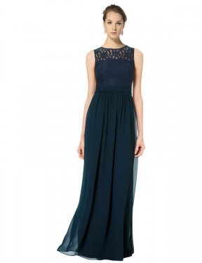 A-Line Illusion Bateau Floor Length Long Dark Navy Chiffon & Lace Alice Bridesmaid Dress for Sale