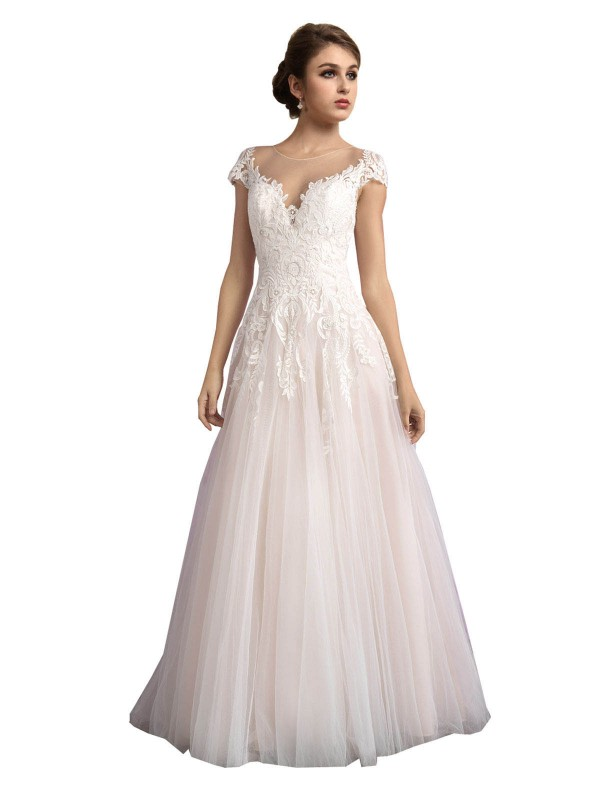 A-Line Illusion Cathedral Train Long Ivory & Champagne Tulle Mariana Wedding Dress for Sale