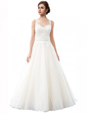 A-Line Illusion Cathedral Train Long Ivory Tulle Raegan Wedding Dress