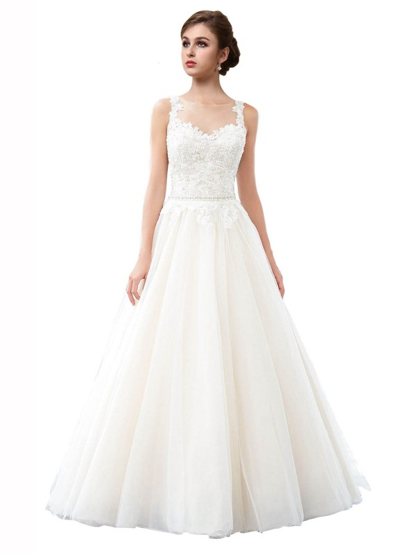 A-Line Illusion Cathedral Train Long Ivory Tulle Raegan Wedding Dress for Sale