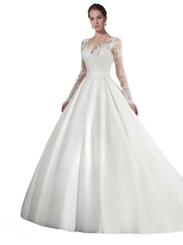 A-Line Illusion Cathedral Train Long White Satin & Lace Stephanie Wedding Dress for Sale