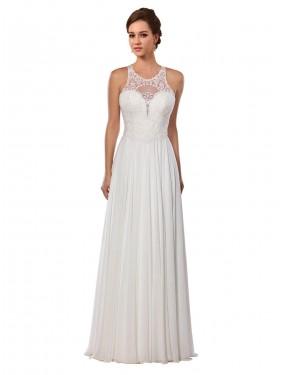 A-Line Illusion Chapel Train Long Ivory Chiffon Sawyer Wedding Dress for Sale
