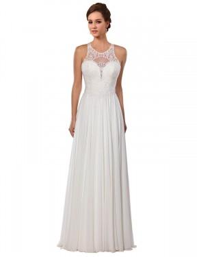A-Line Illusion Chapel Train Long Ivory Chiffon Sawyer Wedding Dress