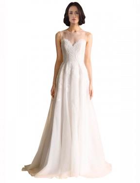 A-Line Illusion Chapel Train Long Ivory Organza Vera Wedding Dress